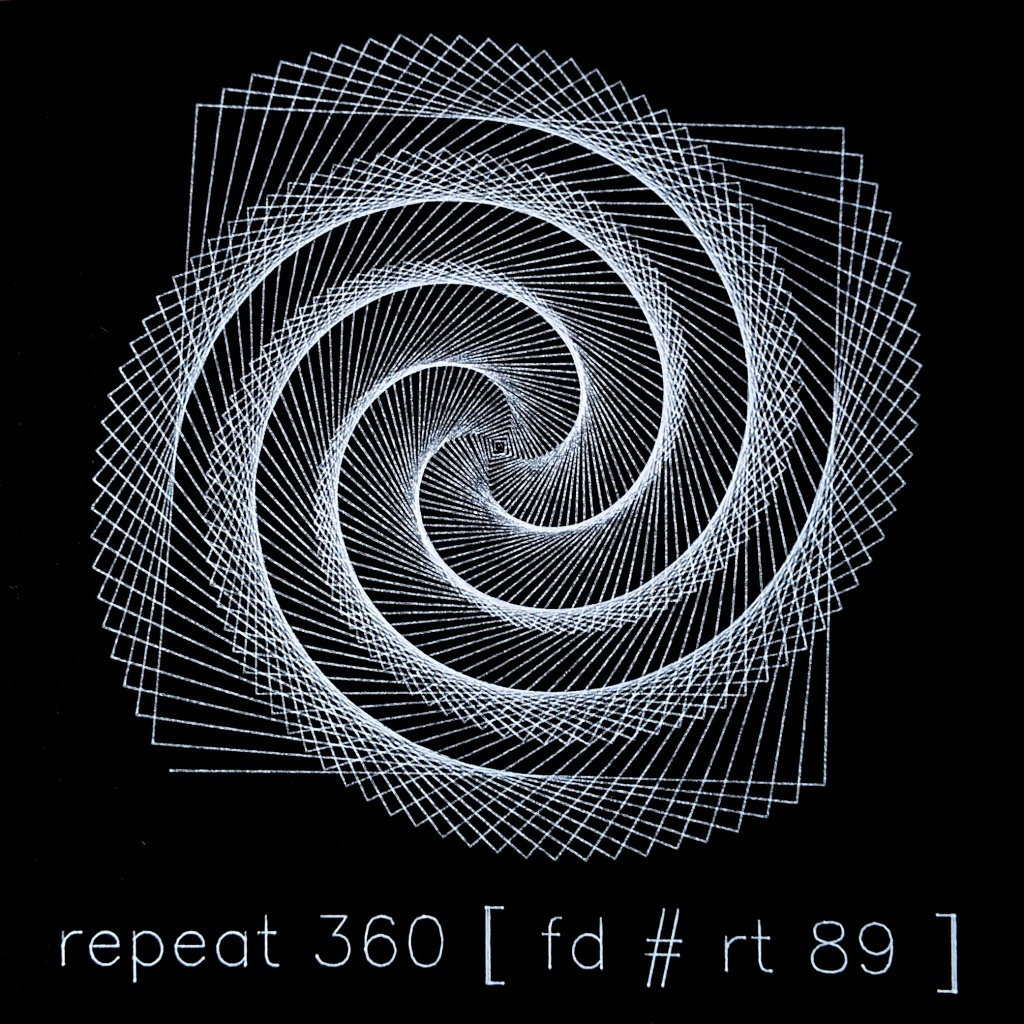 The plotted spiral Logo shape along with the program used to produce it.