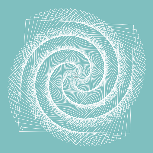 A spiral shape draw in Logo in white on an aqua background