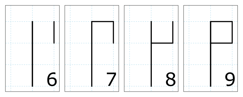 Cistercian numerals 6, 7, 8, and 9